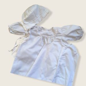 Vintage pre-60s Christening Gown with Cap 3-6M